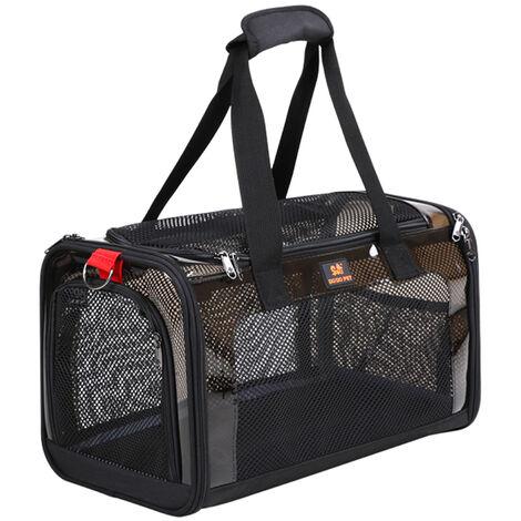 Pet Car Bag Pet Carrier Bolso de viaje portatil para mascotas para perros pequenos, medianos, gatos, malla transpirable ventilada, L, negro