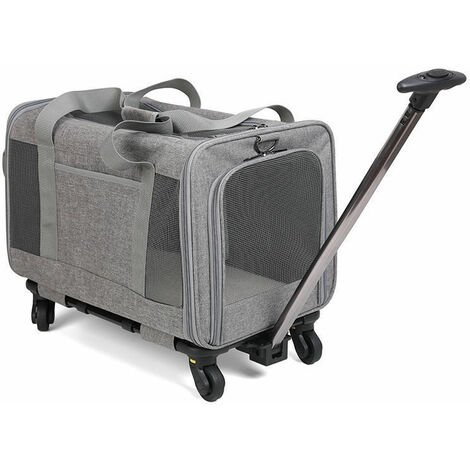 """main image of """"Pet Cat Backpack Going Out Breathable Carrying Bag Cat Supplies Rabbit Dual Purpose Travel Bag Hand Pull Small and Medium Dog Trolley Bag Gray 32 * 48 * 40"""""""