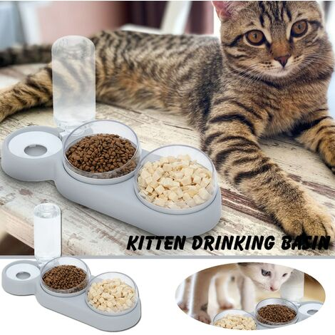 """main image of """"Pet Cat Bowl Automatic Feeder Dog Cat Food Bowl With Three Bowls Cat Food Bowl Drinking Water A Pet Food Bowl Dog Supplies"""""""