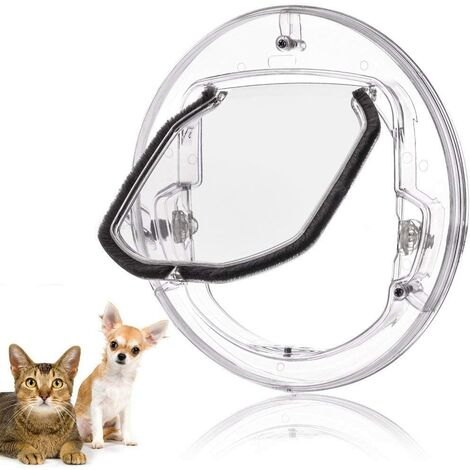 Pet Cat Flap Small Door For Dogs And Cats With 4 Locking Possibilities Round, White And Transparent Random To Send