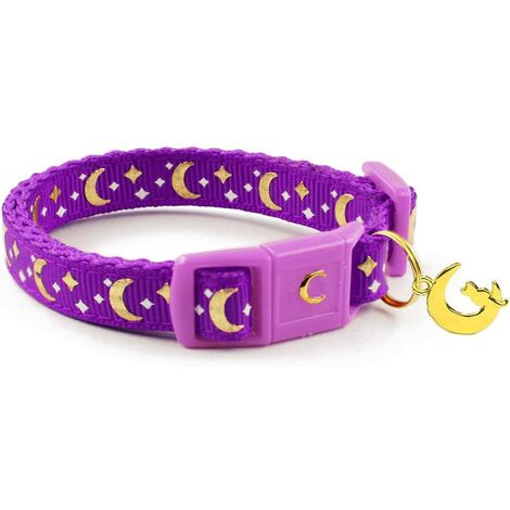 """main image of """"Pet Collar Gold Moons and Stars Cat Collar, Safety Breakaway Cat Collar, Glow in The Dark"""""""