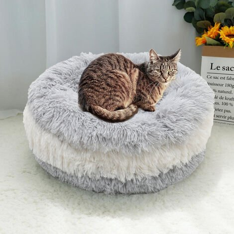 "main image of ""Pet Dog Cat Donut Bed Calming Nesting Bed Warm Soft Plush Puppy Sleeping Basket"""