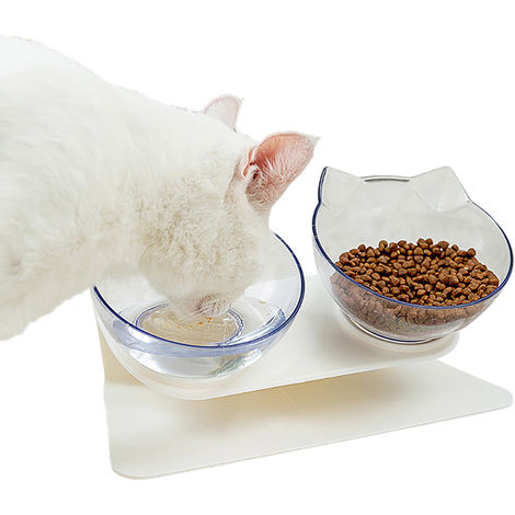 Pet Dog Cat Double Feeder Water Bowl Neck Protection Bowl 15 Degree Tilt