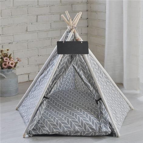 Pet Dog Cat Nest Bed Tent House Puppy Folding Kennel 50x50x60 cm Grey