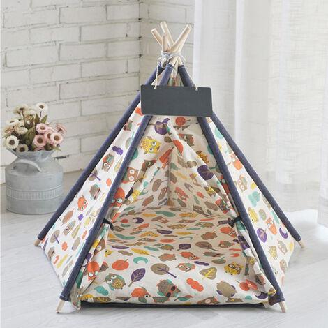Pet Dog Cat Nest Bed Tent House Puppy Folding Kennel 50x50x60 cm Owl
