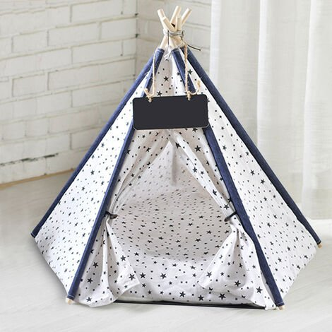 Pet Dog Cat Nest Bed Tent House Puppy Folding Kennel 50x50x60 cm Star