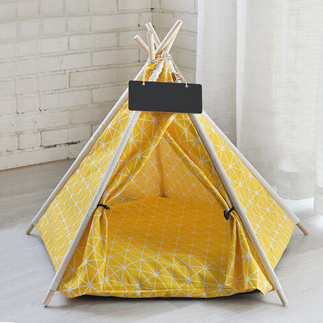 Pet Dog Cat Nest Bed Tent House Puppy Folding Kennel 50x50x60 cm Yellow
