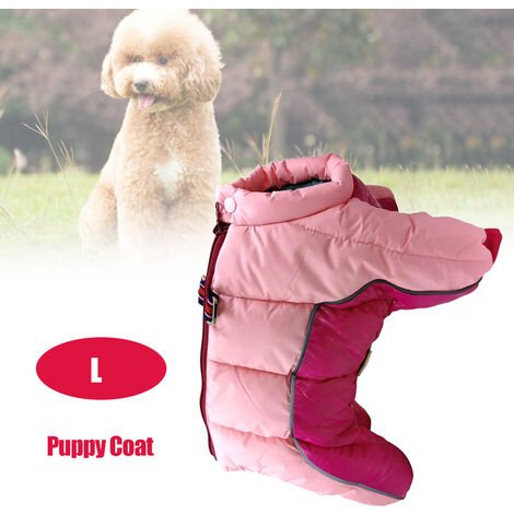 Pet Dog Clothes Winter Warm Jacket Small Dogs Pets Clothing Pink , L