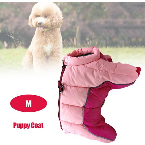 Pet Dog Clothes Winter Warm Jacket Small Dogs Pets Clothing Pink , M