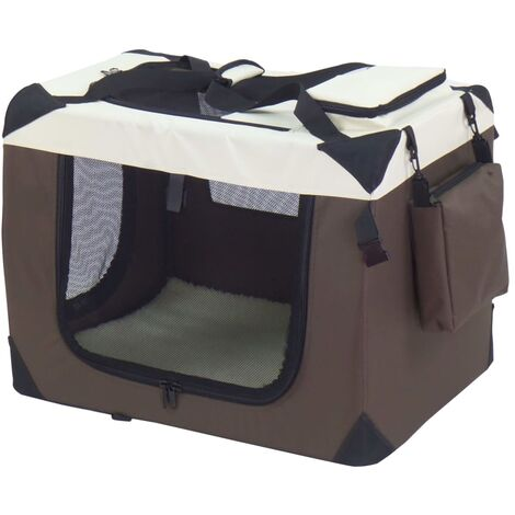 @Pet Dog Crate Brown 50x34x36 cm Nylon
