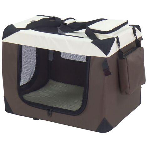 @Pet Dog Crate Brown 62x42x44 cm Nylon