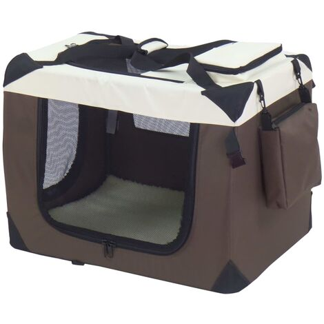 @Pet Dog Crate Brown 82x58x58 cm Nylon