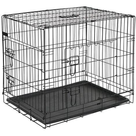 @Pet Dog Crate Metal 63x44x50.5 cm Black 15001
