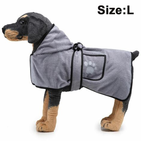 Pet Drying Towel Dog Blanket Microfibre Dog Bathrobe Puppy Cat Absorbent Quick Drying Towel Super Soft Bath Towel Machine Washable for Small, Medium, Large for Dog Cat, L