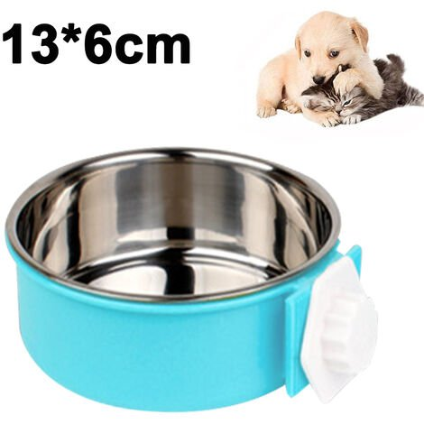 """main image of """"Pet Feeder Dog Bowl Stainless Steel Food Hanging Bowl Crates Cages Dog Parrot Bird Pet Drink Water Bowl Dish Accessory, S, blue"""""""