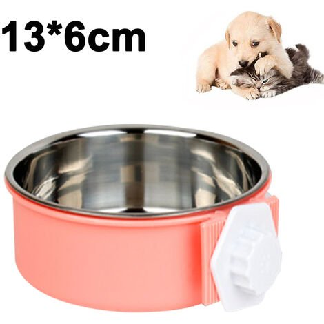 """main image of """"Pet Feeder Dog Bowl Stainless Steel Food Hanging Bowl Crates Cages Dog Parrot Bird Pet Drink Water Bowl Dish Accessory, S, pink"""""""