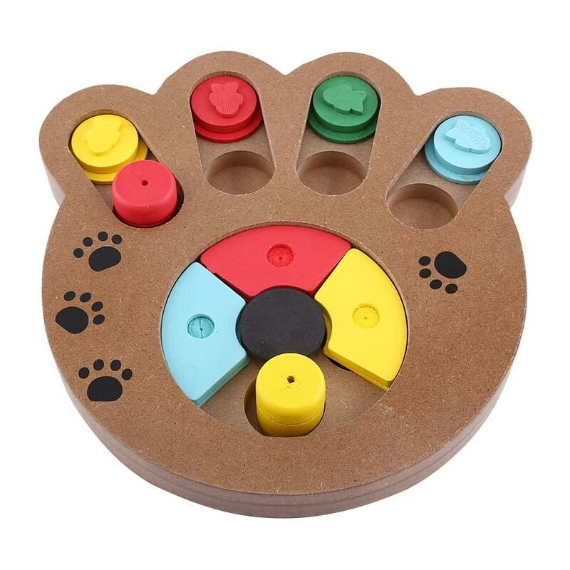 Bearsu - Pet Intelligence Jouet interactif en bois traité avec des aliments pour chiens et chats éducatifs pour animaux domestiques (taille : pion)