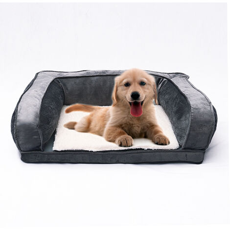 Pet Puppy Cat Dog Bed Cushion Kennel Basket Mat Mattress Corner Sofa Grey 115x70x32cm