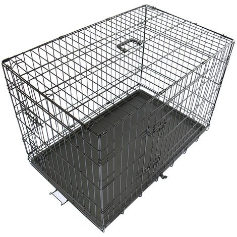 Pet Puppy Crate Folding Dog Training Travel Cage with Detachable Tray