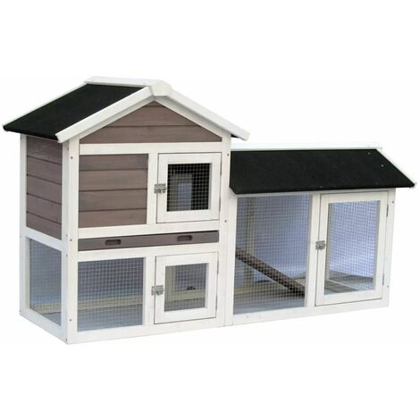 @Pet Rabbit Hutch Avoriaz White and Brown 147x53x85 cm 20098