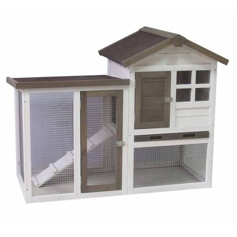 @Pet Rabbit Hutch Gerlos White and Brown 122x62x93cm