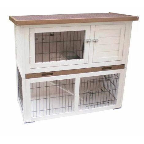 @Pet Rabbit Hutch Kiki White and Brown 92x45x80 cm 20077