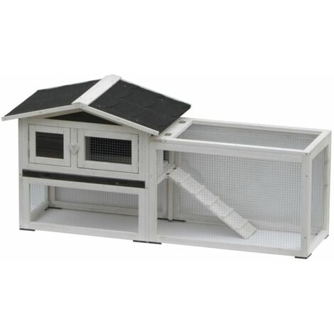 @Pet Rabbit Hutch Manou White and Black 155x53x70 cm 20086