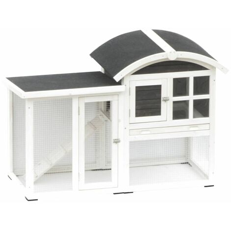 @Pet Rabbit Hutch Piazza White and Black 130x62x90.5 cm 20085