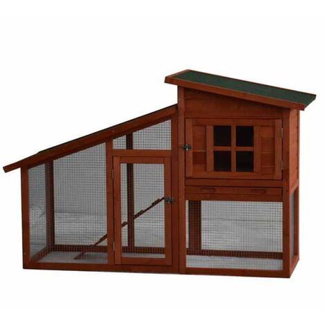 @Pet Rabbit Hutch Serfaus Wood 151x60x100 cm Brown 20110