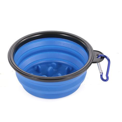 """main image of """"Pet Slow Eating Bowl Foldable Dog Feeder Blue Large Size"""""""