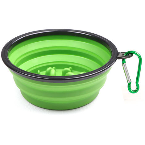 Pet Slow Eating Bowl Foldable Dog Feeder Green Small Size