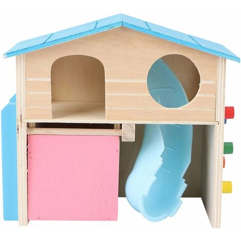 Pet Small Animal Hideout Hamster House with Wooden Climbing Ladder Gerbil Hut Hideaway Exercise Play Toys (Blue)