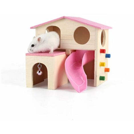 Pet Small Animal Hideout Hamster House with Wooden Climbing Ladder Gerbil Hut Hideaway Exercise Play Toys (Pink)