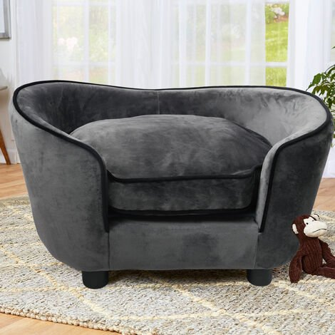Pet Sofa Bed Dog Cat Kitty Puppy Couch Soft Cushion Chair Couch Settee Lounger Grey
