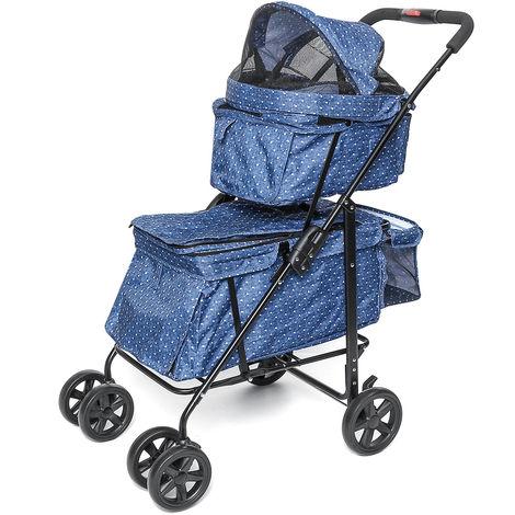Pet Stroller Dog Cat Double Deck 2-in-1 Foldable Walk Detachable Carrier
