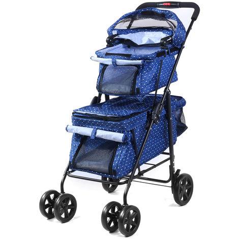 Pet Stroller Dog Cat Double Deck Walk Foldable 2-in-1 Detachable Carrier