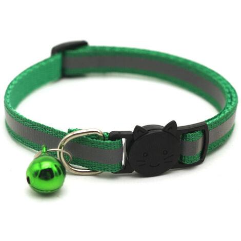 "main image of ""Pet Supplies Reflective Patch Collar Release Buckle Bell Tightness Adjustable Pet Collar,model:Grass green"""
