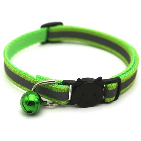 """main image of """"Pet Supplies Reflective Patch Collar Release Buckle Bell Tightness Adjustable Pet Collar,model:Green"""""""