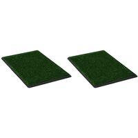 Pet Toilets 2 pcs with Tray & Faux Turf Green 76x51x3 cm WC