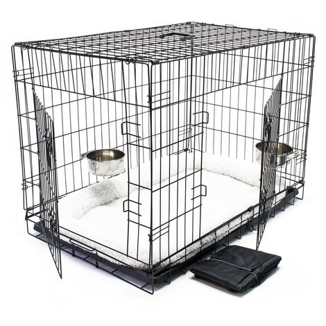 Pet transport cage Set with cushion bowl and tarpaulin collapsible L 107x71x76cm