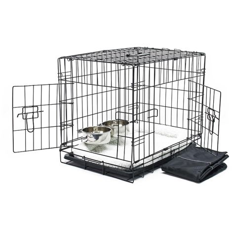 Pet transport cage Set with cushion bowl and tarpaulin collapsible XS 60x43x48.5cm