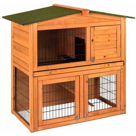 Pet Vida 2 Tier Wooden Pet Hutch