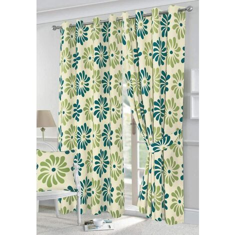 "Petals eyelet curtains - Teal - 66x90"""