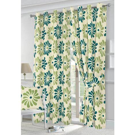 "Petals eyelet curtains - Teal - 90x108"""