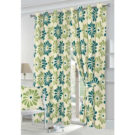 "Petals eyelet curtains - Teal - 90x90"""