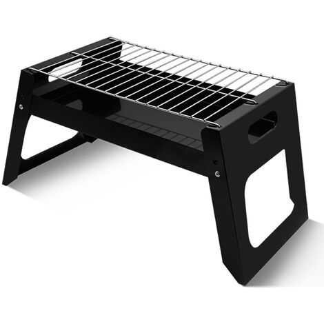 Petit barbecue pliant exterieur portable noir installation de camping barbecue grill carre simple