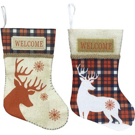 """Petit Bas De Noel 2 Pieces Arbre De Noel Stocking Ornements Decorations 7"""" Renne Plaid Hanging Chaussettes Pour Noel Decor Cheminee"""
