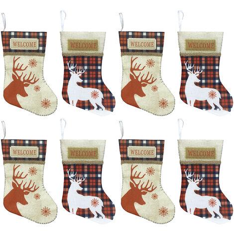 """Petit Bas De Noel 8 Pcs Arbre De Noel Stocking Ornements Decorations 7"""" Renne Plaid Hanging Chaussettes Pour Noel Decor Cheminee"""