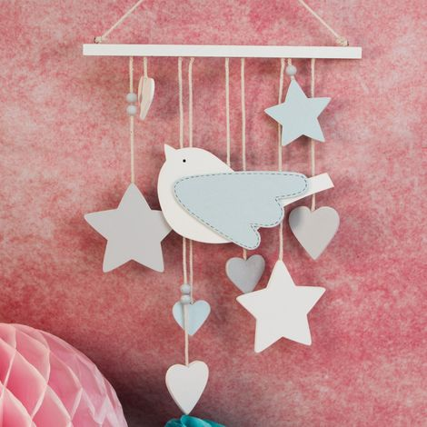 Petit Cheri Blue Bird Mobile with hanging stars and hearts in a blue colour
