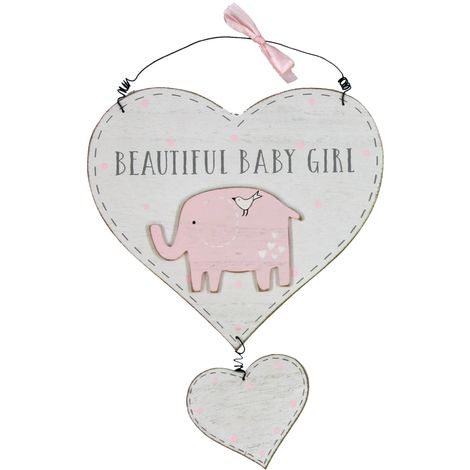 Petit Cheri' MDF Heart Plaque - Beautiful Baby Girl